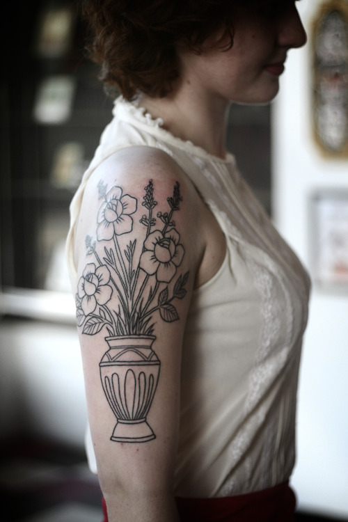 flower vase tattoo