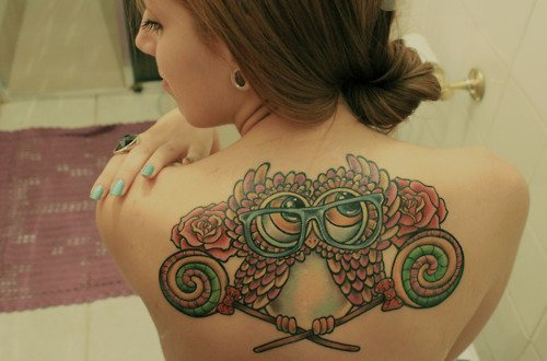 Owl girl back tattoo