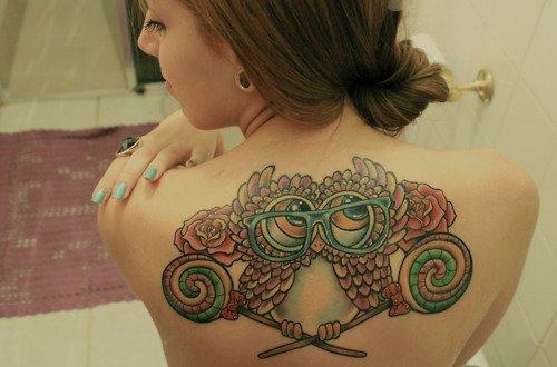 Owl girl back tattoo