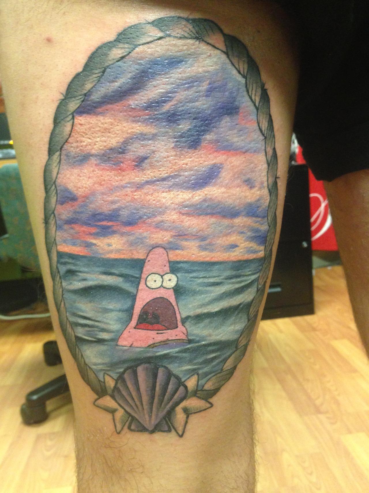 funny patrick starfish tattoo