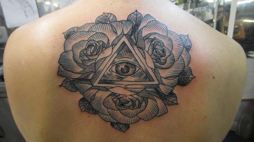 illuminati back tattoo