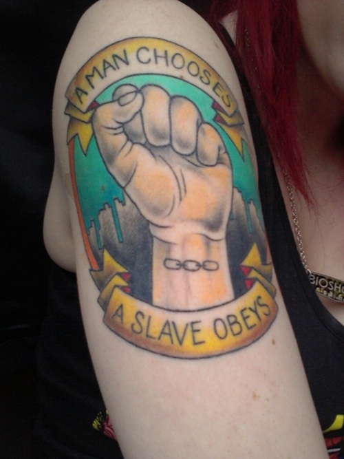 A man chooses a slave obeys best tattoo design ideas for Bioshock wrist tattoo