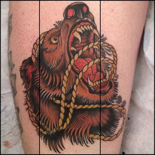 Traditional grizzly bear tattoo - photo#1