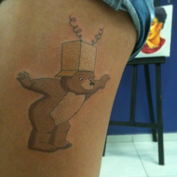 Funny bear tattoo