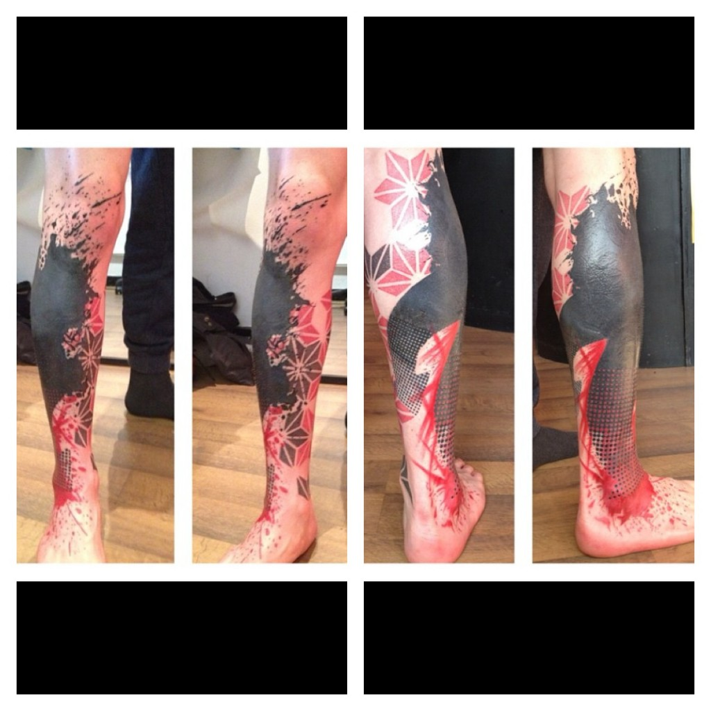 Amazing abstract leg tattoo