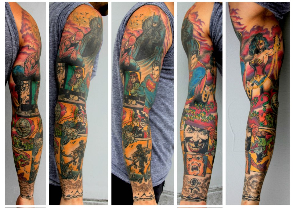 Amazing arm comic tattoo