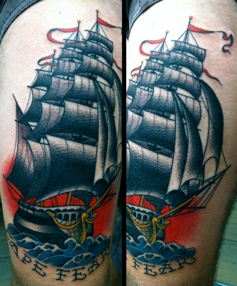 Amazing ship tattoo