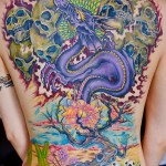 Amazingly colourful back tattoo
