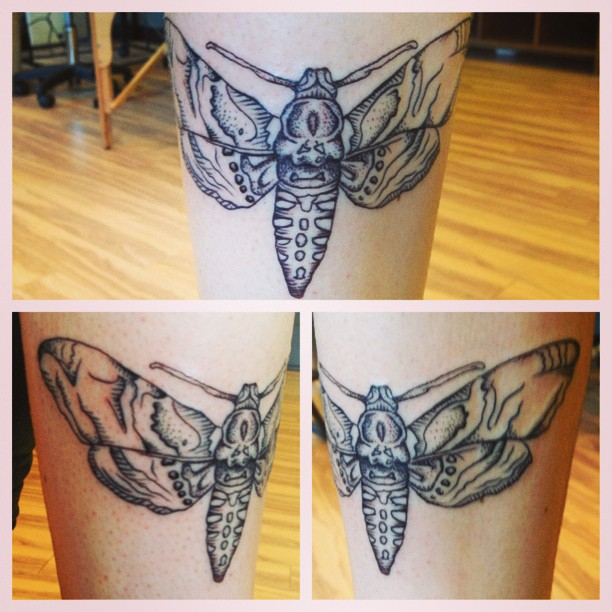 Butterfly tattoo on leg