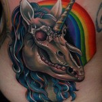 Crazy unicorn tattoo
