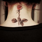 Cute Rose neck tattoo