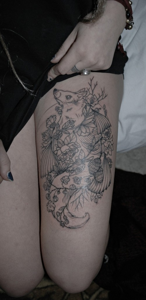 Cute girl leg tattoo