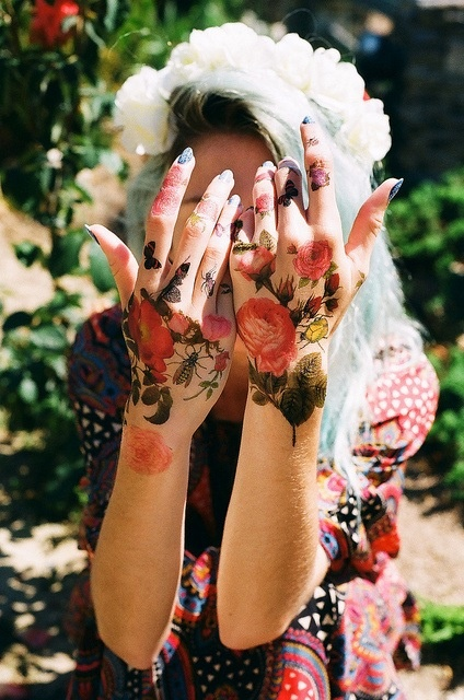 Floral hand tattoo