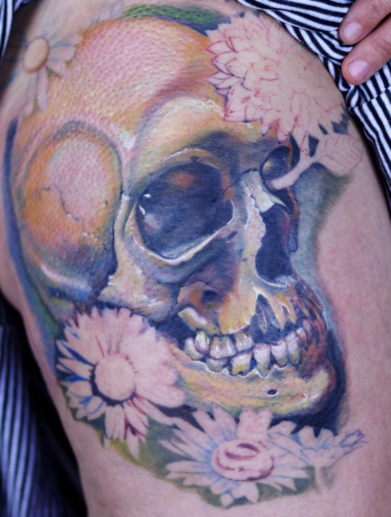 Best skull and flowers tattoo design hot girls wallpaper for Skull and flowers tattoos