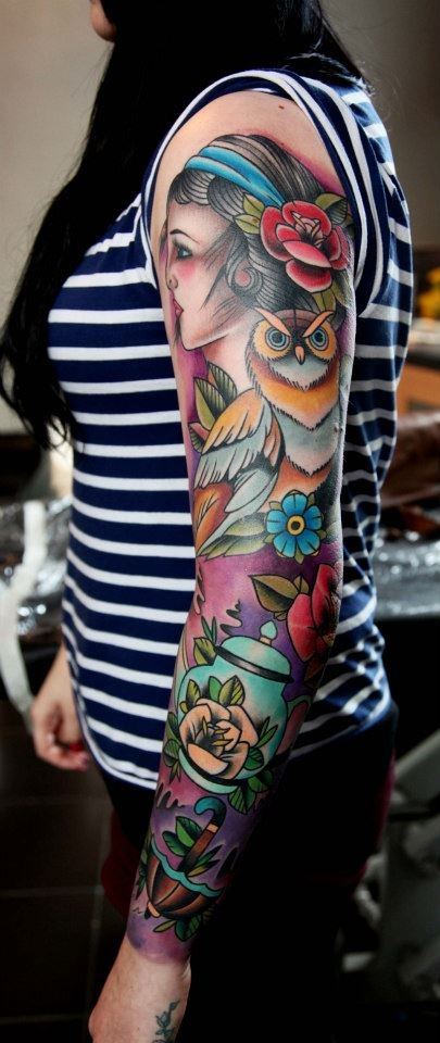 Girls sleeve tattoo