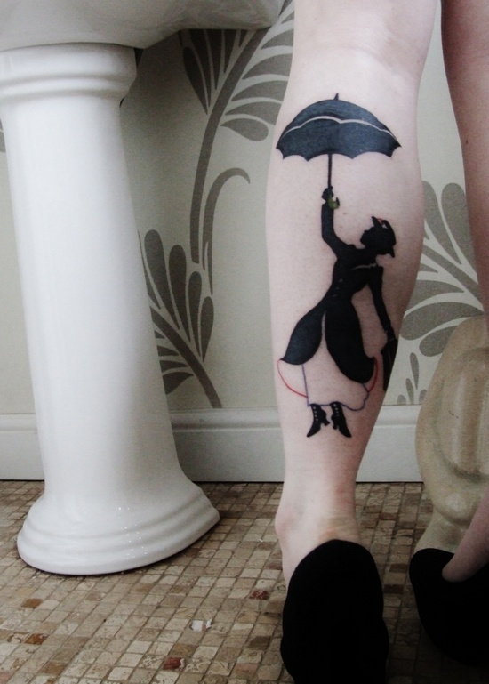 Mary Poppins leg tattoo