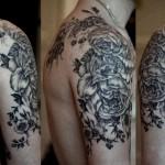 Nice floral shoulder tattoo
