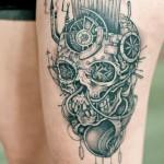 Awesome skull leg tattoo