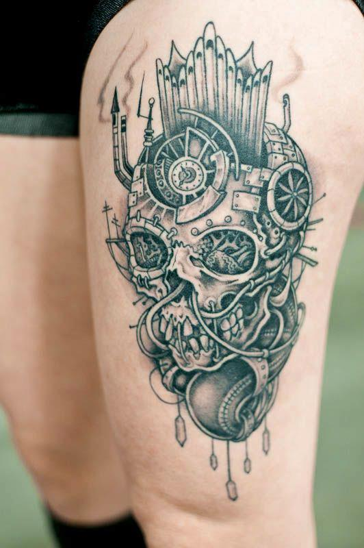 Awesome skull leg tattoo