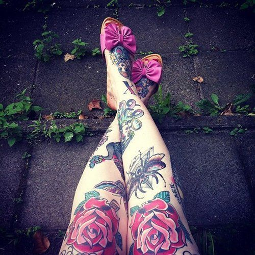 Beautiful girl legs tattoos