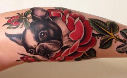 French bulldog in flowers