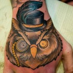 Funny owl tattoo