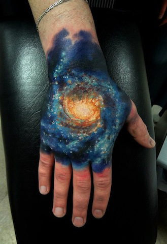 Galaxy Hand Tattoo