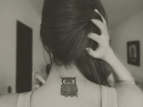 Owl Neck Tat