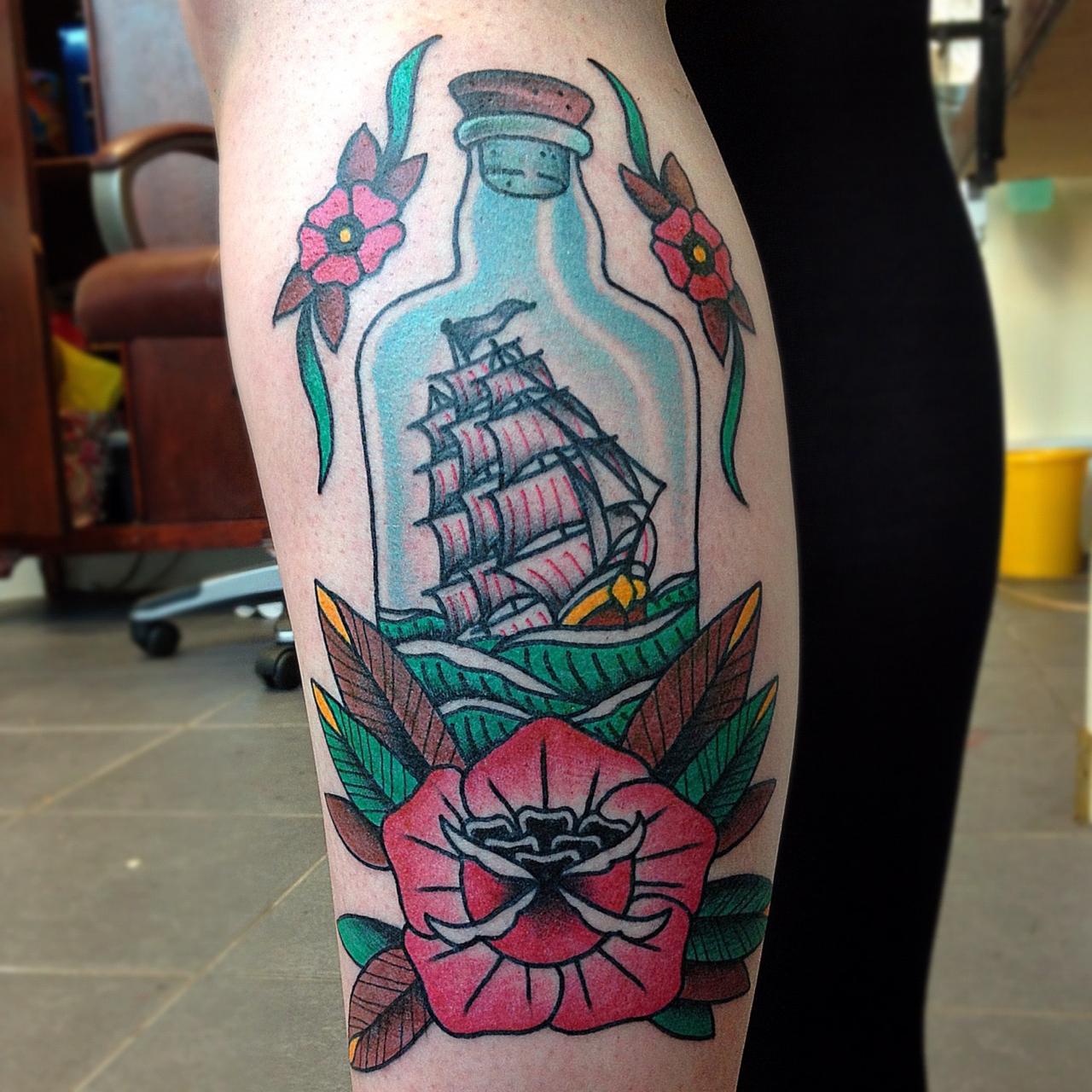 ship in a bottle best tattoo design ideas. Black Bedroom Furniture Sets. Home Design Ideas