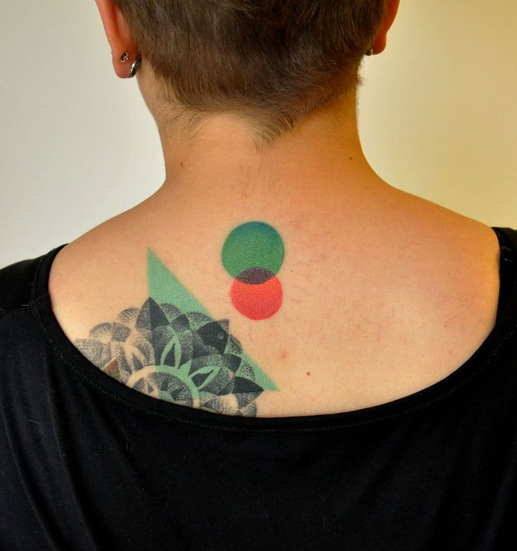 Abstract Colourful Back Tattoo