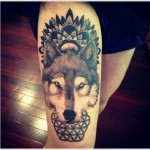 Awesome Wolf Leg Tat