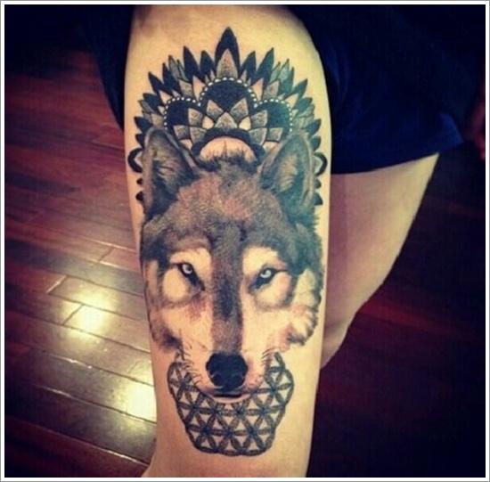 Awesome Wolf Leg Tat