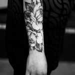 Beautiful Black Floral Arm Tat