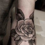 Beautiful Black Rose Tattoo On Arm