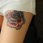 Colorful Rose Leg Tat