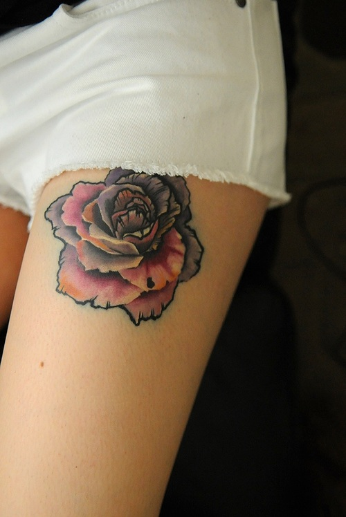 Colorful Rose Leg Tat