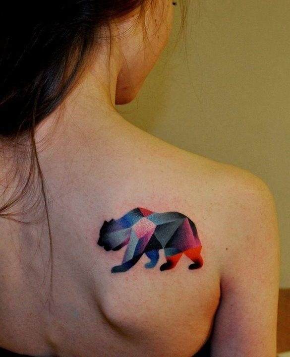 Bear watercolor tattoo - photo#28