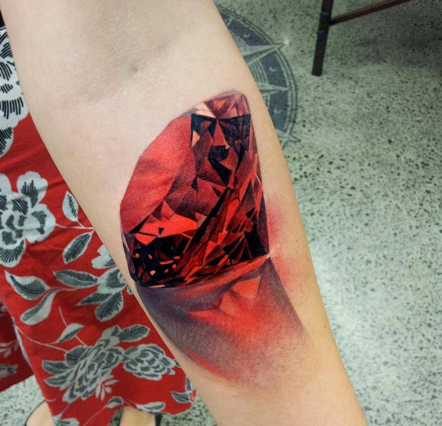 Realistic Ruby Tattoo
