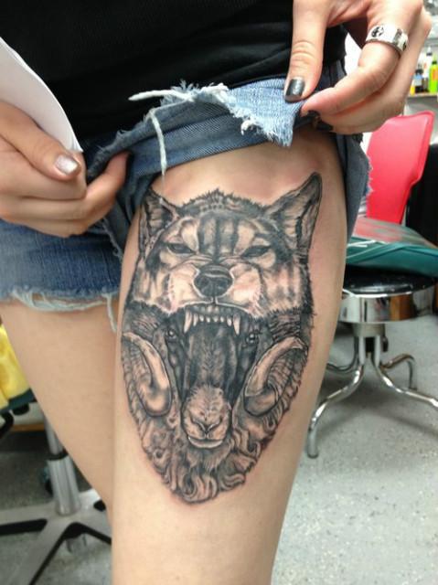 Angry Wolf Leg Tat