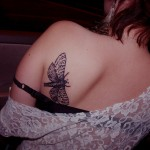 Black Butterfly Back Tat