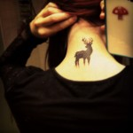 Black Deer Neck Tattoo