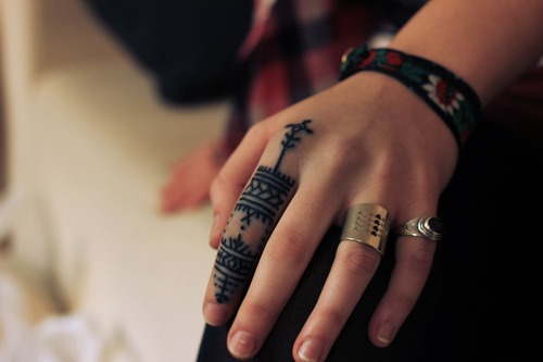 Black Pattern Finger Tattoo