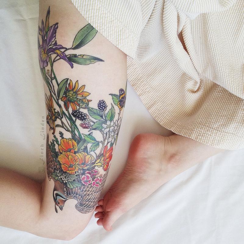 Floral leg best tattoo design ideas for Floral leg tattoo designs