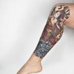 Japanese Style Leg Tat