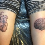 Realistic Brain And Heart Tats