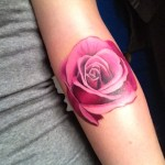 Realistic Rose Arm Tattoo