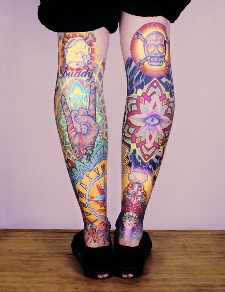 Super Colourful Leg Tats