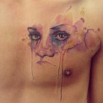 Amazing Watercolor Face Tat