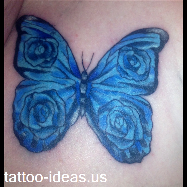 Butterfly With Roses In Blue