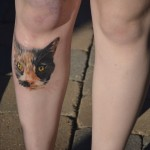 Cat Face On Leg